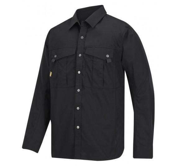 Snickers Workwear Rip-Stop Langarm-Arbeitshemd, 8508, Farbe Black, Größe L